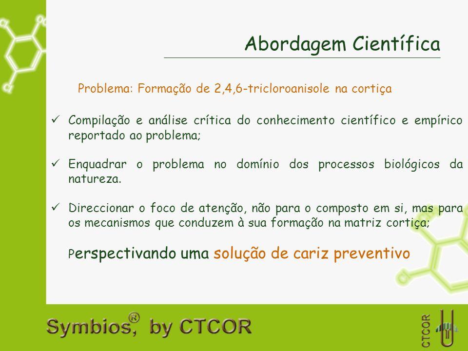 Experiência industrial - Resultados Amostras PS (ng/l) Ausência de mofo1181 Detecção de mofo3 Total de rolhas1184 Confirmação analítica Quantificação de cloroanisóislibertáveis na rolha individual 1,9 ng /l 1,6 ng/l 6,6 ng/l Taxa de incidência de mofo = 1/1184 rolhas = 0,08% (!!!) Análise sensorial de rolhas lavadas Simulador de contacto: água destilada/desodorizada (Nota: Amostras PT e PS de uma única empresa) 2,4,6-TCA Limite de detecção sensorial em vinho: 4 ng/l Admitindo que a rolha cederia todo o TCA libertável (?!)