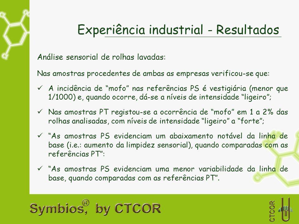 Experiência industrial - Resultados Análise sensorial de rolhas lavadas: Nas amostras procedentes de ambas as empresas verificou-se que: A incidência