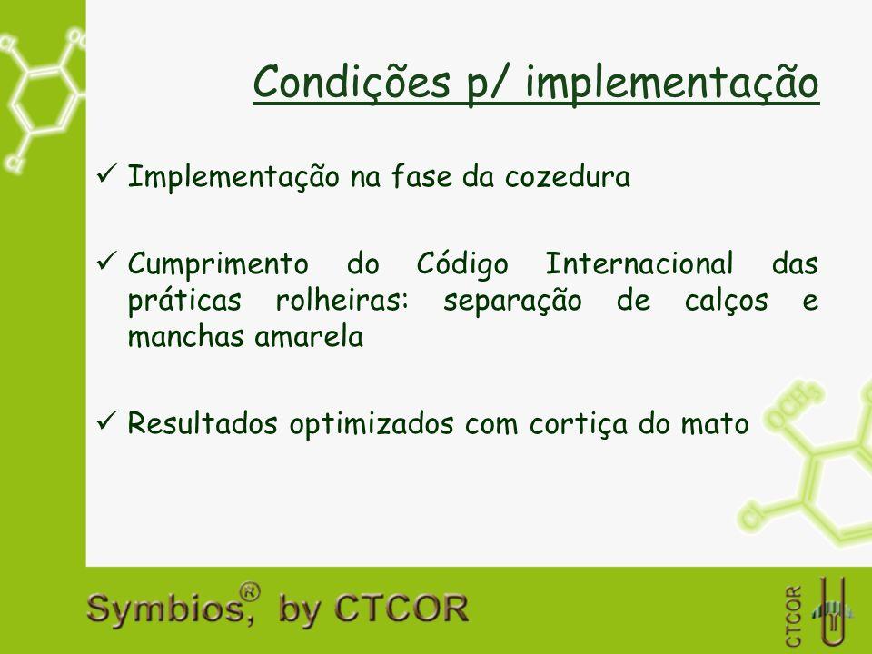 Condições p/ implementação Implementação na fase da cozedura Cumprimento do Código Internacional das práticas rolheiras: separação de calços e manchas