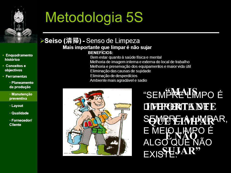 Enquadramento histórico Conceitos e objectivos Ferramentas Metodologia 5S Seiton ( ) - Senso de Organização Use o bom senso BENEFÍCIOS Maior controle