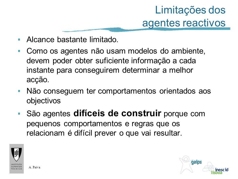 A. Paiva Limitações dos agentes reactivos Alcance bastante limitado. Como os agentes não usam modelos do ambiente, devem poder obter suficiente inform