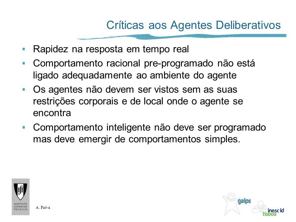 A. Paiva Críticas aos Agentes Deliberativos Rapidez na resposta em tempo real Comportamento racional pre-programado não está ligado adequadamente ao a