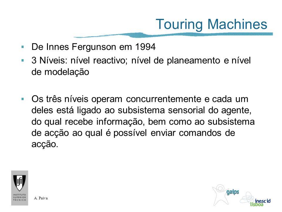 A. Paiva Touring Machines De Innes Fergunson em 1994 3 Níveis: nível reactivo; nível de planeamento e nível de modelação Os três níveis operam concurr