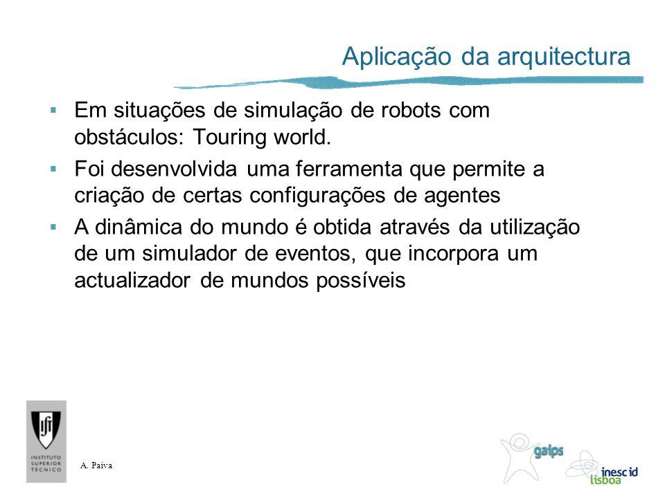 A. Paiva Aplicação da arquitectura Em situações de simulação de robots com obstáculos: Touring world. Foi desenvolvida uma ferramenta que permite a cr