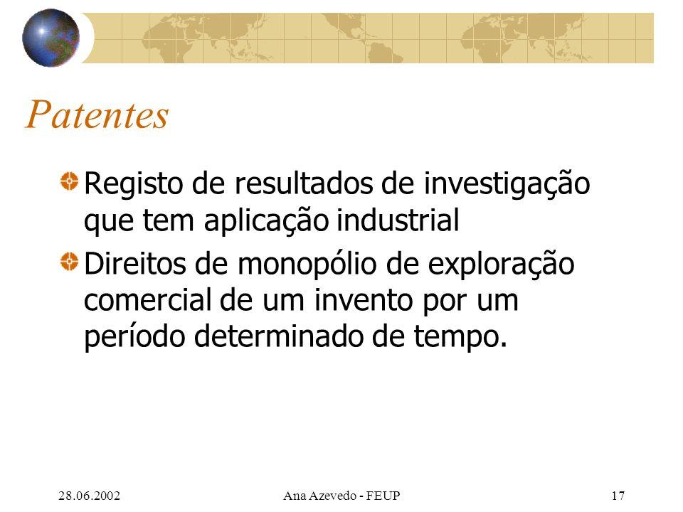 28.06.2002Ana Azevedo - FEUP17 Patentes Registo de resultados de investigação que tem aplicação industrial Direitos de monopólio de exploração comercial de um invento por um período determinado de tempo.