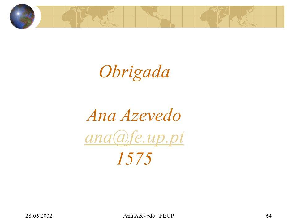 28.06.2002Ana Azevedo - FEUP64 Obrigada Ana Azevedo ana@fe.up.pt 1575 ana@fe.up.pt