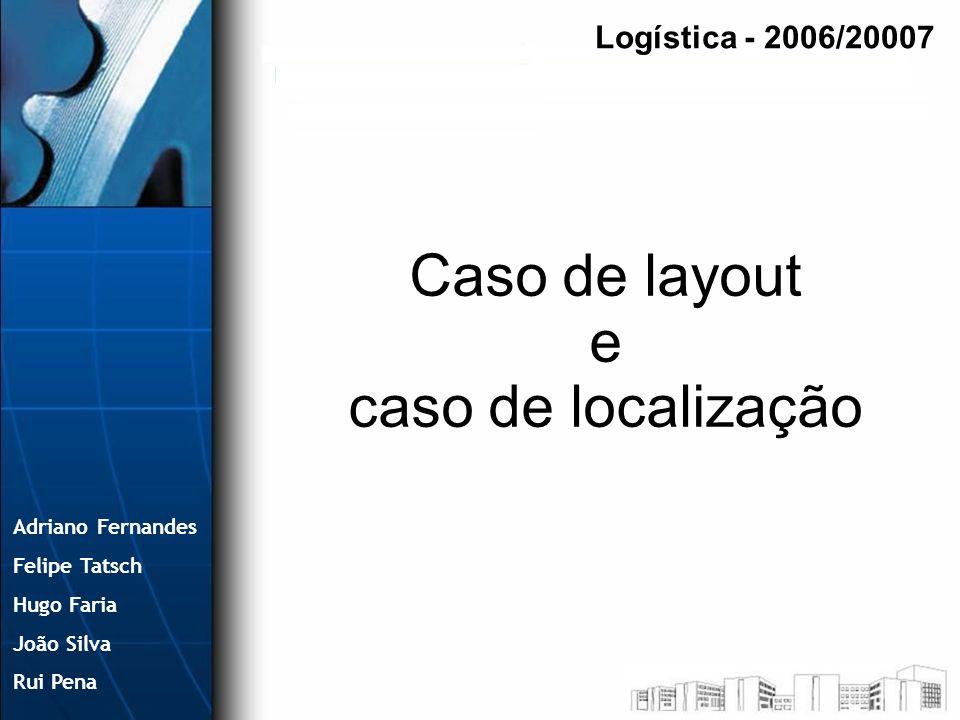 Adriano Fernandes Felipe Tatsch Hugo Faria João Silva Rui Pena Caso de layout e caso de localização Logística - 2006/20007