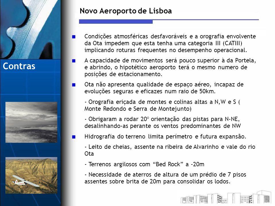 Novo Aeroporto de Lisboa Condições atmosféricas desfavoráveis e a orografia envolvente da Ota impedem que esta tenha uma categoria III (CATIII) implic