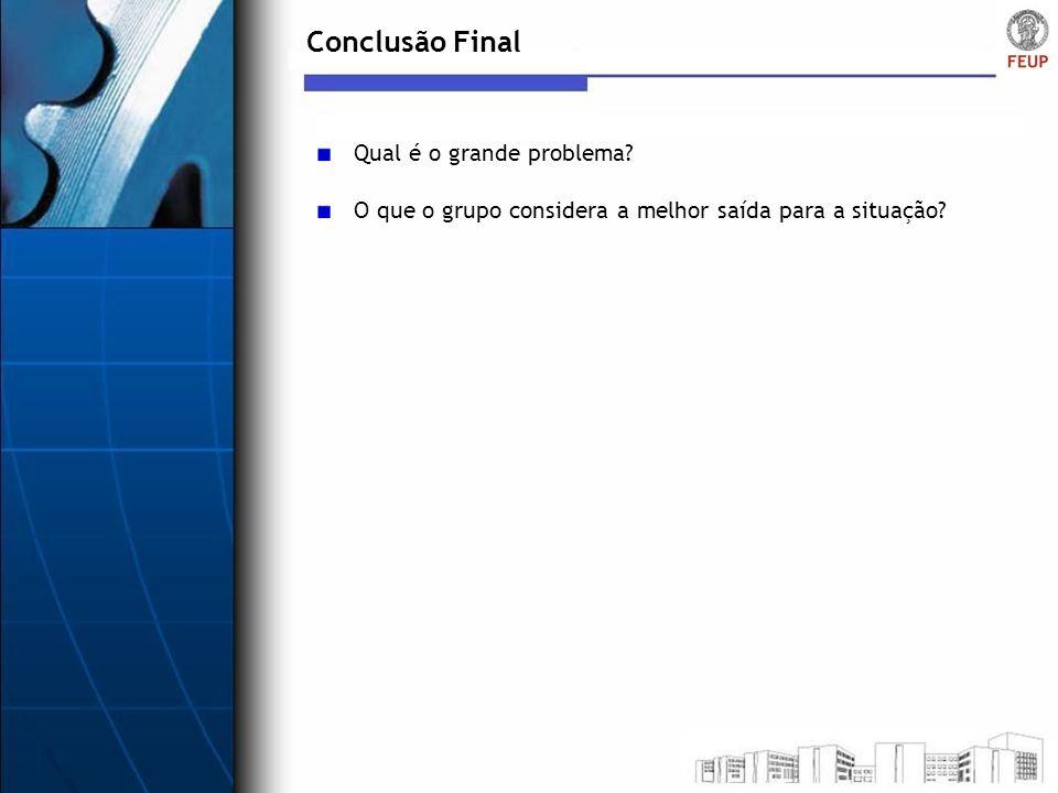 Conclusão Final Qual é o grande problema? O que o grupo considera a melhor saída para a situação?
