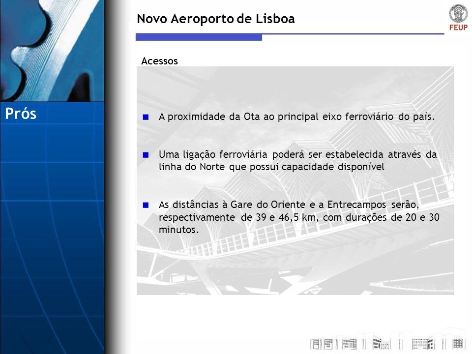 Novo Aeroporto de Lisboa A proximidade da Ota ao principal eixo ferroviário do país. Uma ligação ferroviária poderá ser estabelecida através da linha