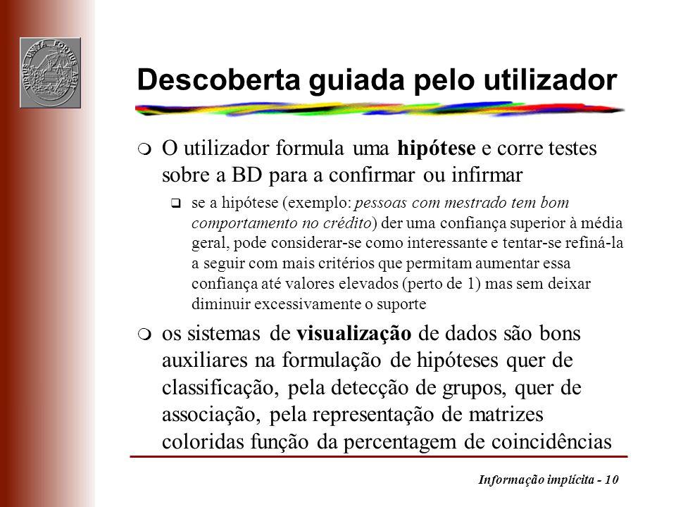 Informação implícita - 10 Descoberta guiada pelo utilizador m O utilizador formula uma hipótese e corre testes sobre a BD para a confirmar ou infirmar