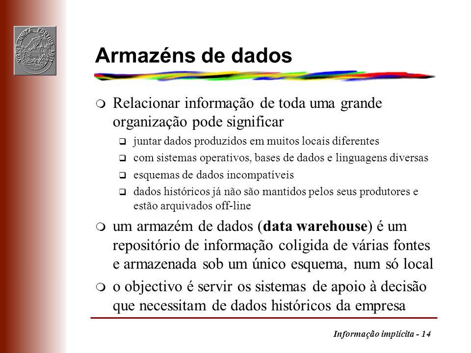 Informação implícita - 14 Armazéns de dados m Relacionar informação de toda uma grande organização pode significar q juntar dados produzidos em muitos
