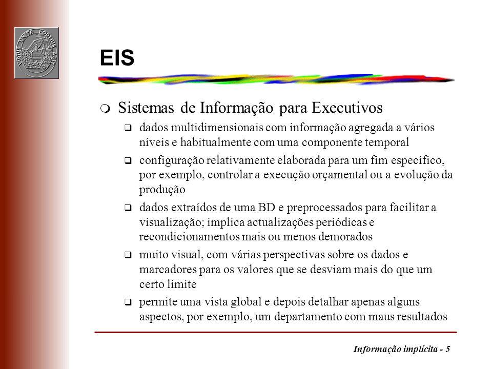 Informação implícita - 5 EIS m Sistemas de Informação para Executivos q dados multidimensionais com informação agregada a vários níveis e habitualment