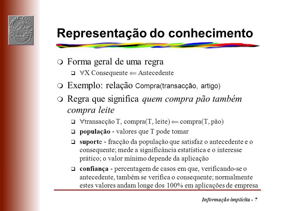 Informação implícita - 7 Representação do conhecimento m Forma geral de uma regra q X Consequente Antecedente Exemplo: relação Compra(transacção, arti