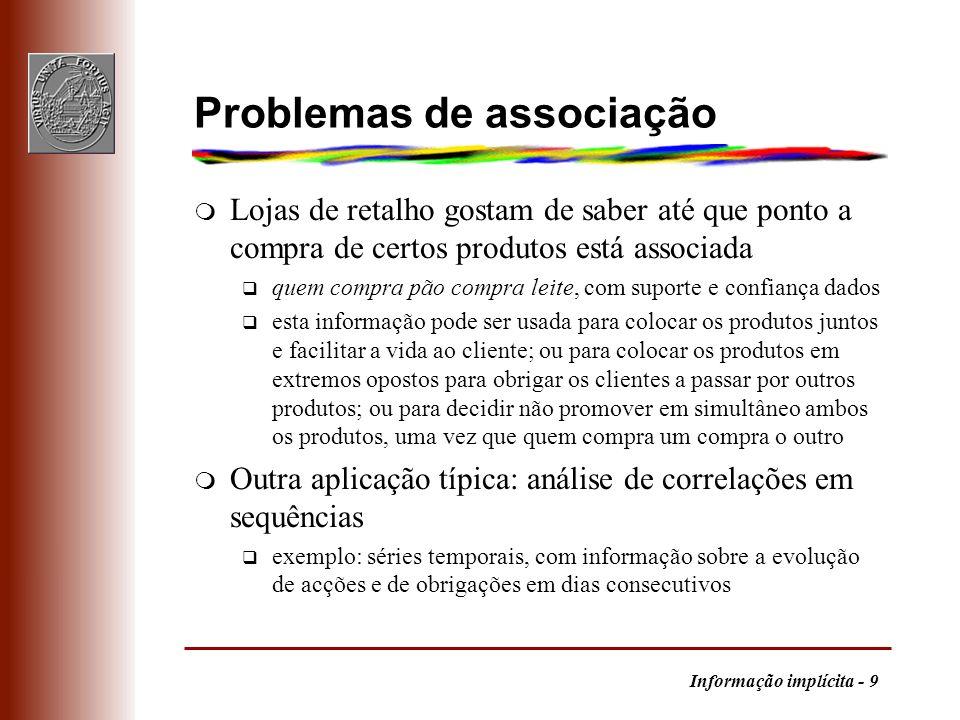 Informação implícita - 9 Problemas de associação m Lojas de retalho gostam de saber até que ponto a compra de certos produtos está associada q quem co