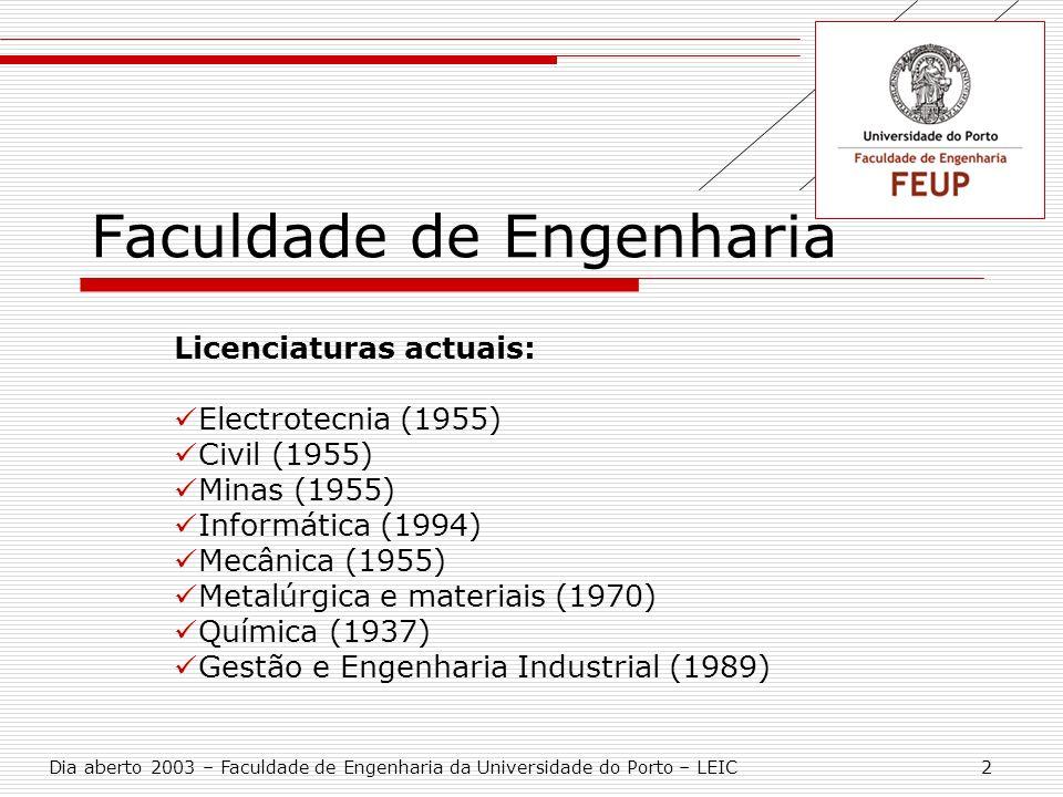 Faculdade de Engenharia Licenciaturas actuais: Electrotecnia (1955) Civil (1955) Minas (1955) Informática (1994) Mecânica (1955) Metalúrgica e materia