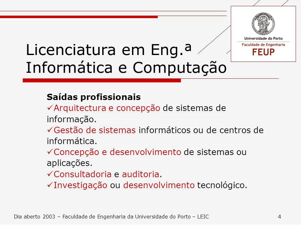 Licenciatura em Eng.ª Informática e Computação Saídas profissionais Arquitectura e concepção de sistemas de informação. Gestão de sistemas informático