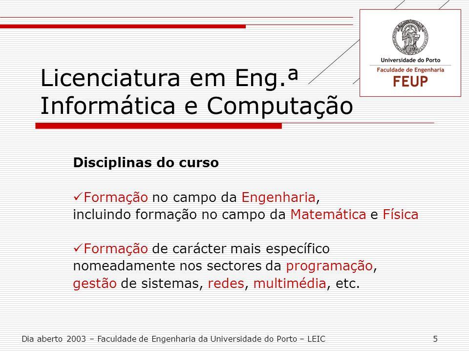 Licenciatura em Eng.ª Informática e Computação Disciplinas do curso Formação no campo da Engenharia, incluindo formação no campo da Matemática e Físic