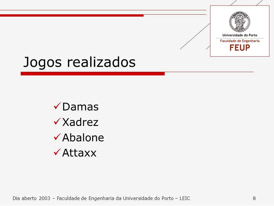 Jogos realizados Damas Xadrez Abalone Attaxx Dia aberto 2003 – Faculdade de Engenharia da Universidade do Porto – LEIC 8