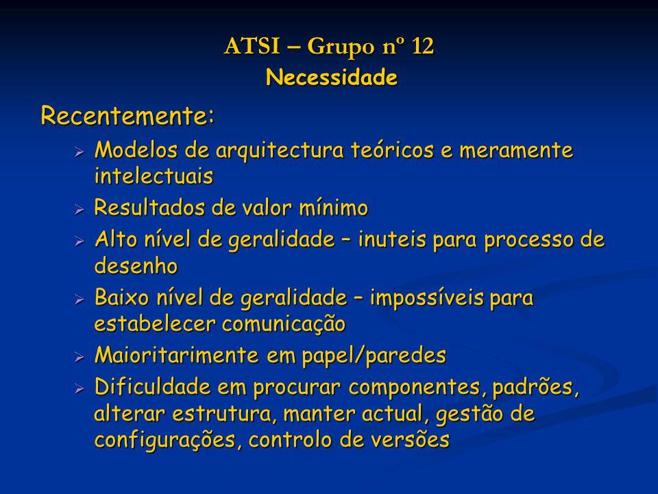 ATSI – Grupo nº 12 Necessidade Mecanismos automáticos de armazenamento para modelos: arquitectura não é apenas um desafio intelectual, irá tornar-se imperativo para qualquer empresa arquitectura não é apenas um desafio intelectual, irá tornar-se imperativo para qualquer empresa