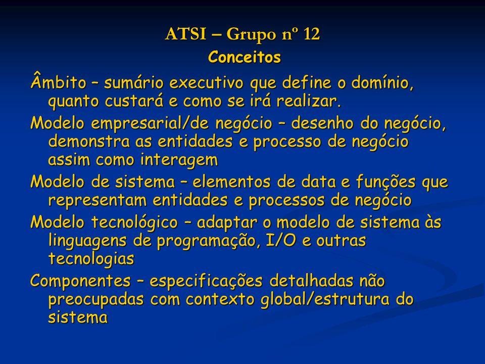 ATSI – Grupo nº 12 Conceitos Âmbito – sumário executivo que define o domínio, quanto custará e como se irá realizar.
