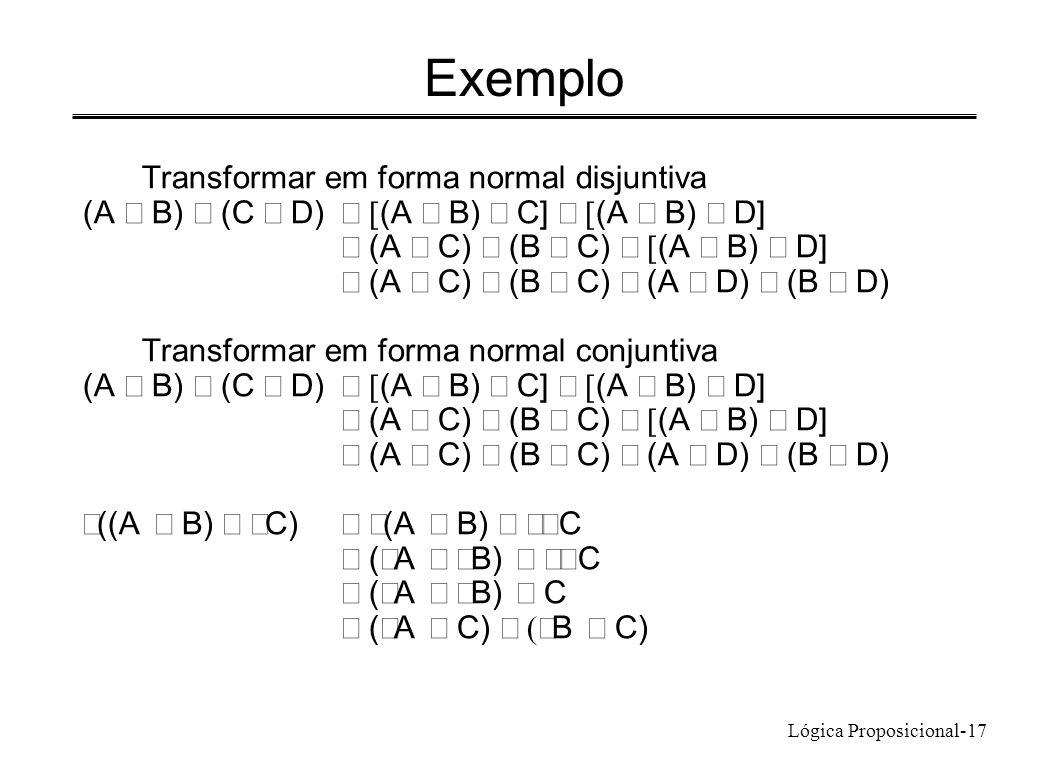 Lógica Proposicional-17 Exemplo Transformar em forma normal disjuntiva (A B) (C D) (A B) C] (A B) D] (A C) (B C) (A B) D] (A C) (B C) (A D) (B D) Tran