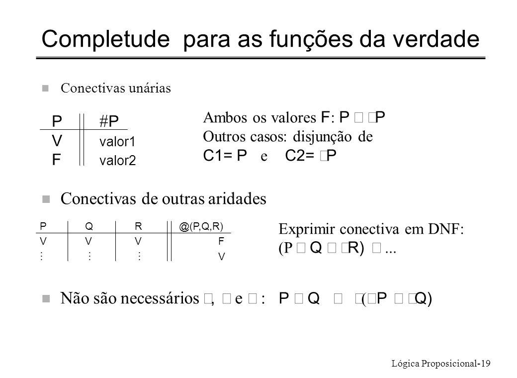 Lógica Proposicional-19 Completude para as funções da verdade n Conectivas unárias P V valor1 F valor2 Ambos os valores F : P P Outros casos: disjunçã