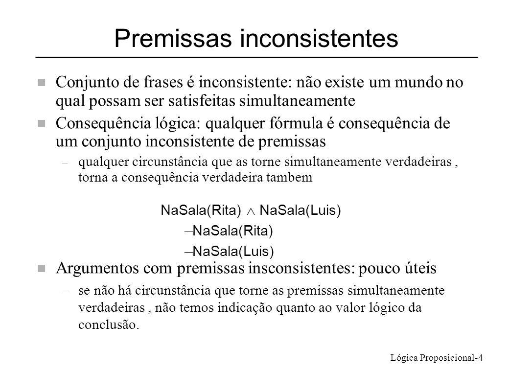 Lógica Proposicional-4 Premissas inconsistentes n Conjunto de frases é inconsistente: não existe um mundo no qual possam ser satisfeitas simultaneamen