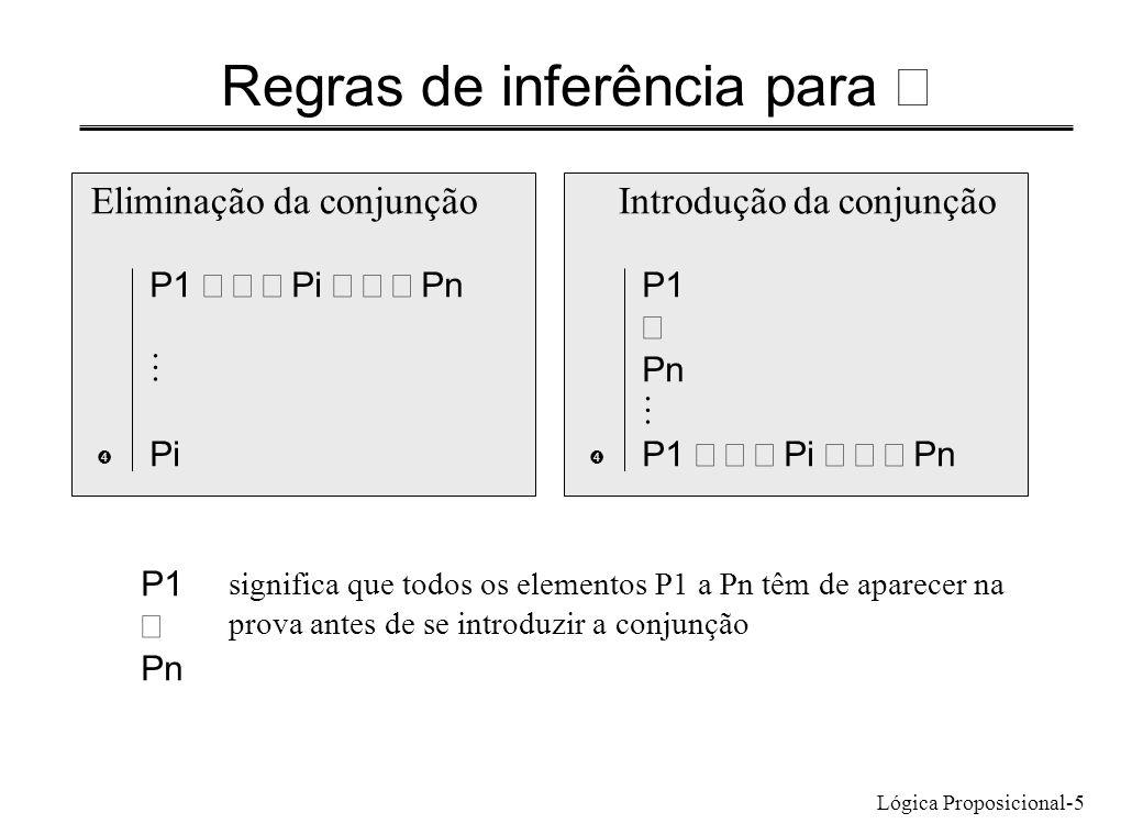 Lógica Proposicional-5 Regras de inferência para Eliminação da conjunção P1 Pi Pn Pi  Introdução da conjunção P1 Pn P1 Pi Pn  significa que todos os