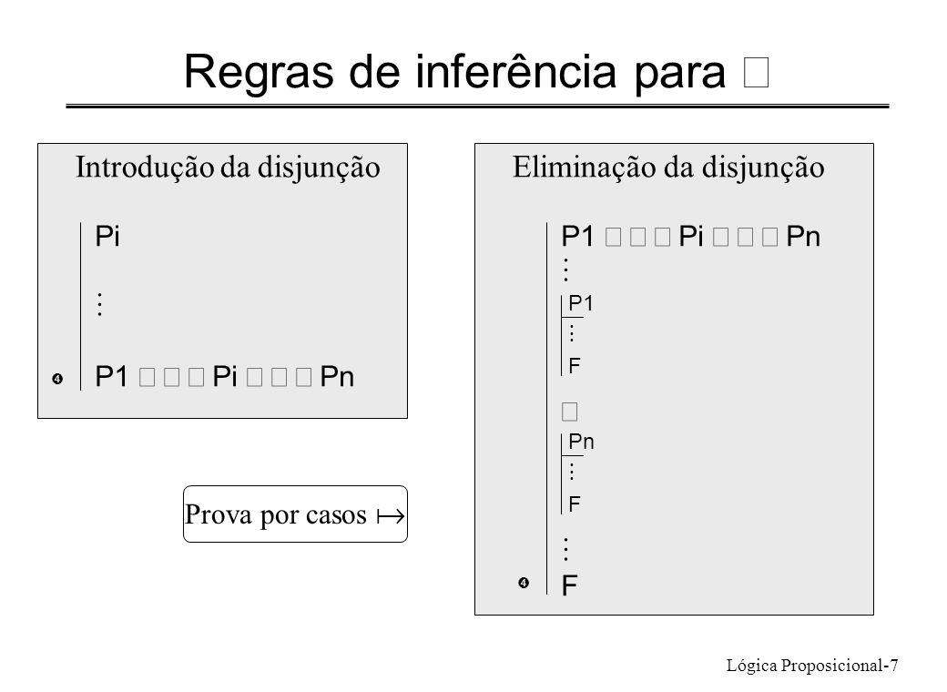 Lógica Proposicional-7 Regras de inferência para P1 Pi Pn F Eliminação da disjunção  Introdução da disjunção Pi P1 Pi Pn  P1 F Pn F Prova por casos