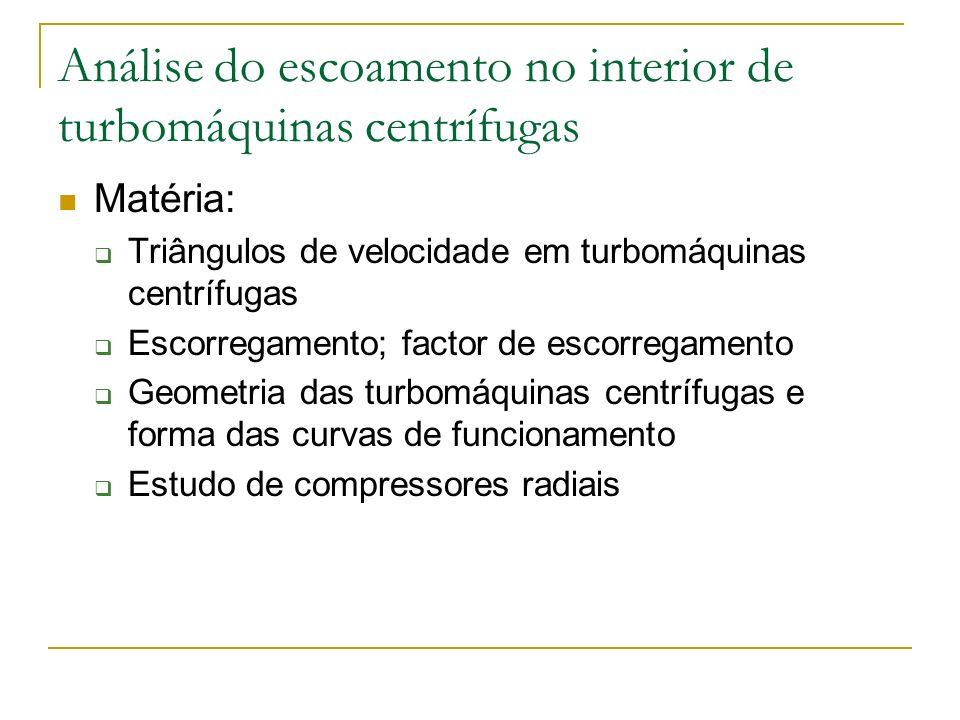 Análise do escoamento no interior de turbomáquinas centrífugas Matéria: Triângulos de velocidade em turbomáquinas centrífugas Escorregamento; factor d