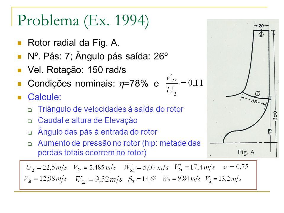 Problema (Ex. 1994) Rotor radial da Fig. A. Nº. Pás: 7; Ângulo pás saída: 26º Vel. Rotação: 150 rad/s Condições nominais: =78% e Calcule: Triângulo de