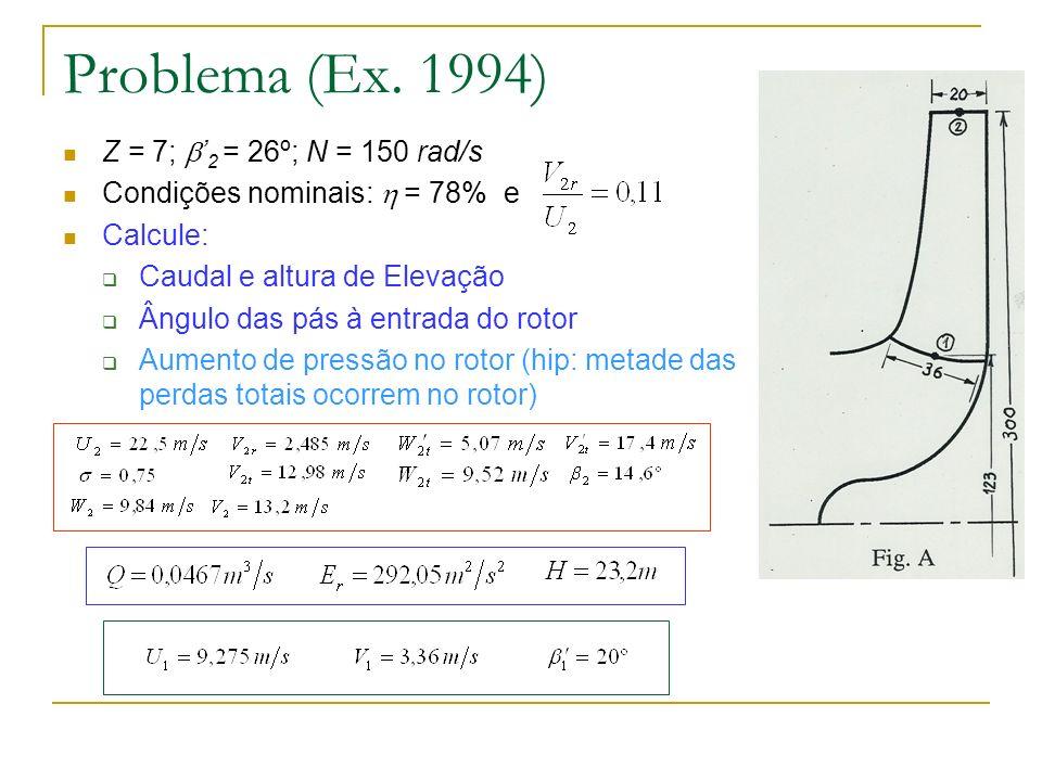 Problema (Ex. 1994) Z = 7; 2 = 26º; N = 150 rad/s Condições nominais: = 78% e Calcule: Caudal e altura de Elevação Ângulo das pás à entrada do rotor A
