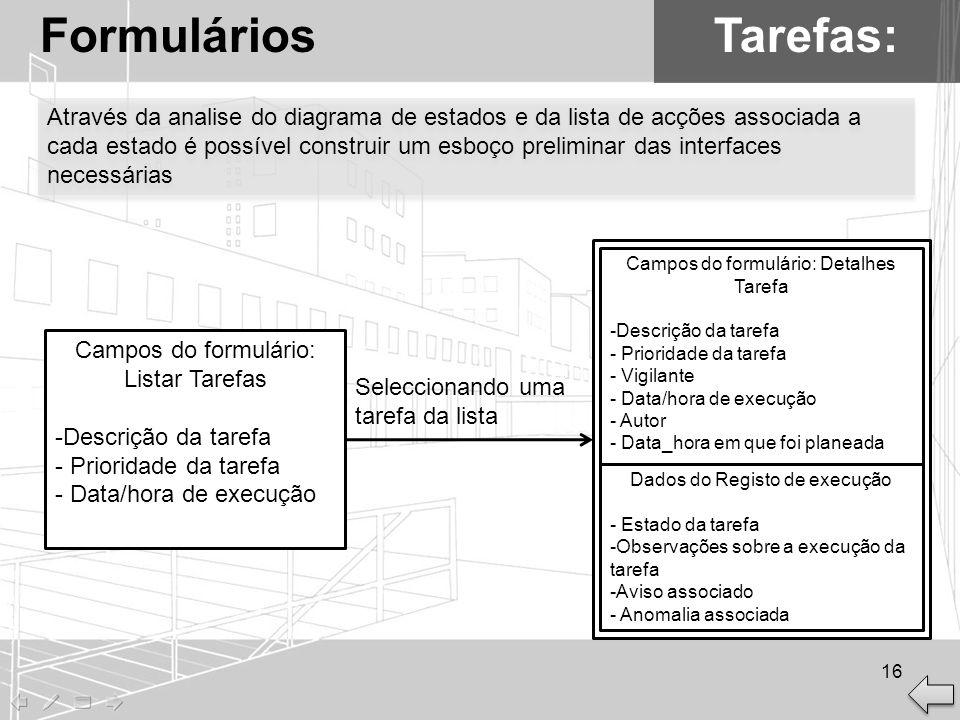 Tarefas:Formulários Campos do formulário: Listar Tarefas -Descrição da tarefa - Prioridade da tarefa - Data/hora de execução Campos do formulário: Det
