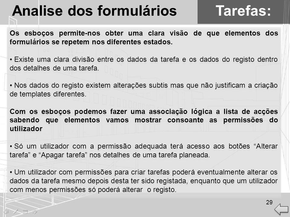 Tarefas:Analise dos formulários Os esboços permite-nos obter uma clara visão de que elementos dos formulários se repetem nos diferentes estados. Exist