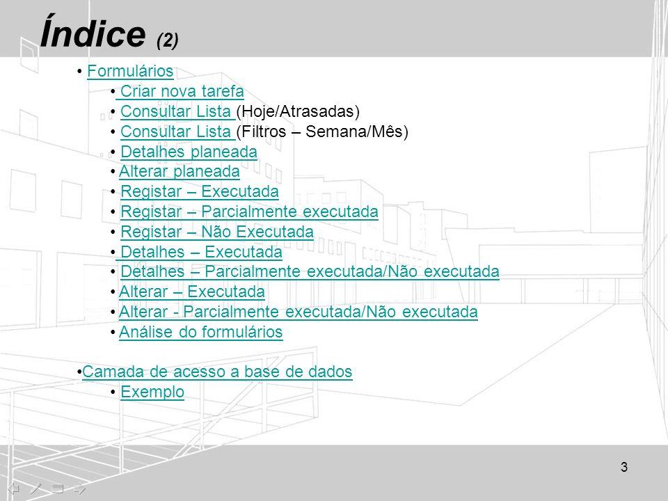Índice (2) Formulários Criar nova tarefa Consultar Lista (Hoje/Atrasadas)Consultar Lista Consultar Lista (Filtros – Semana/Mês)Consultar Lista Detalhe