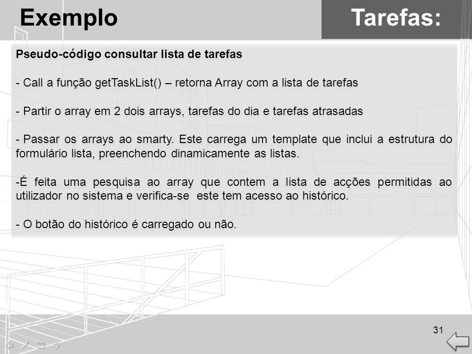 Tarefas:Exemplo Pseudo-código consultar lista de tarefas - Call a função getTaskList() – retorna Array com a lista de tarefas - Partir o array em 2 do