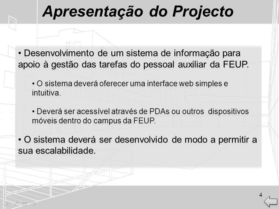 Apresentação do Projecto Desenvolvimento de um sistema de informação para apoio à gestão das tarefas do pessoal auxiliar da FEUP. O sistema deverá ofe