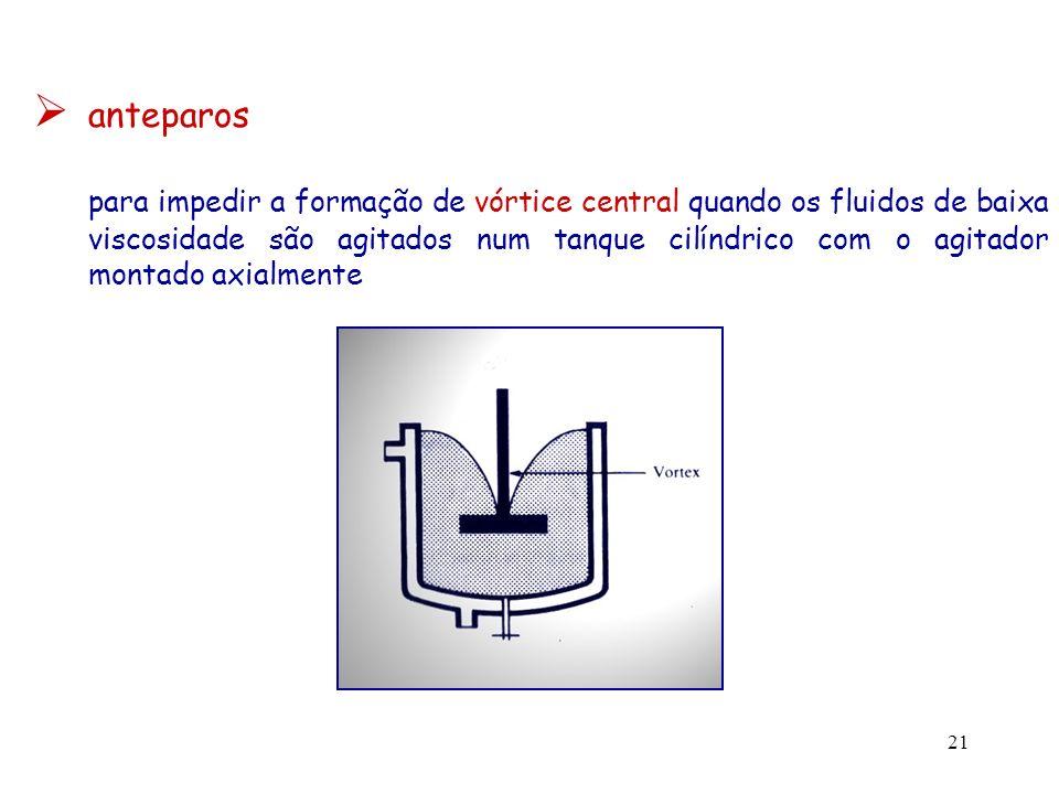 22 existência do vórtice central desvantagensvantagem - baixo grau de mistura (fluido e - submersão dos sólidos em aplicações onde agitador possuem a mesma velocidade são usadas suspensões angular) - captura de ar pelo líquido - nível do líquido sobe junto às paredes do tanque 4 anteparos equidistantes fixados na superfície interna da parede do tanque B/D 1/12turbinas, pás B/D 1/18hélices em geral, os anteparos não são necessários em aplicações com fluidos de elevada viscosidade