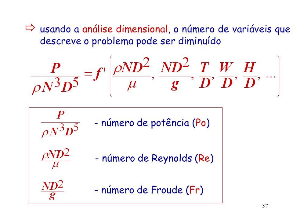 38 Fr é usado para ter em conta o efeito do comportamento da superfície livre do líquido (vórtice central) no Po pode ser desprezado para: -Re pequenos (< 300) -Re elevados nas aplicações em que se usam anteparos Po = f(Re, razões geométricas) para sistemas geometricamente semelhantes Po = f(Re)