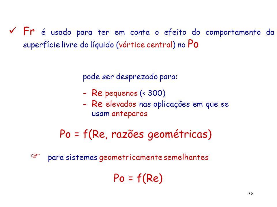 39 Curva típica de potência região laminar Po = K / Re (Re < 10) (K – constante que depende da geometria do sistema) região turbulenta Po = constante (Re > 10 4 )
