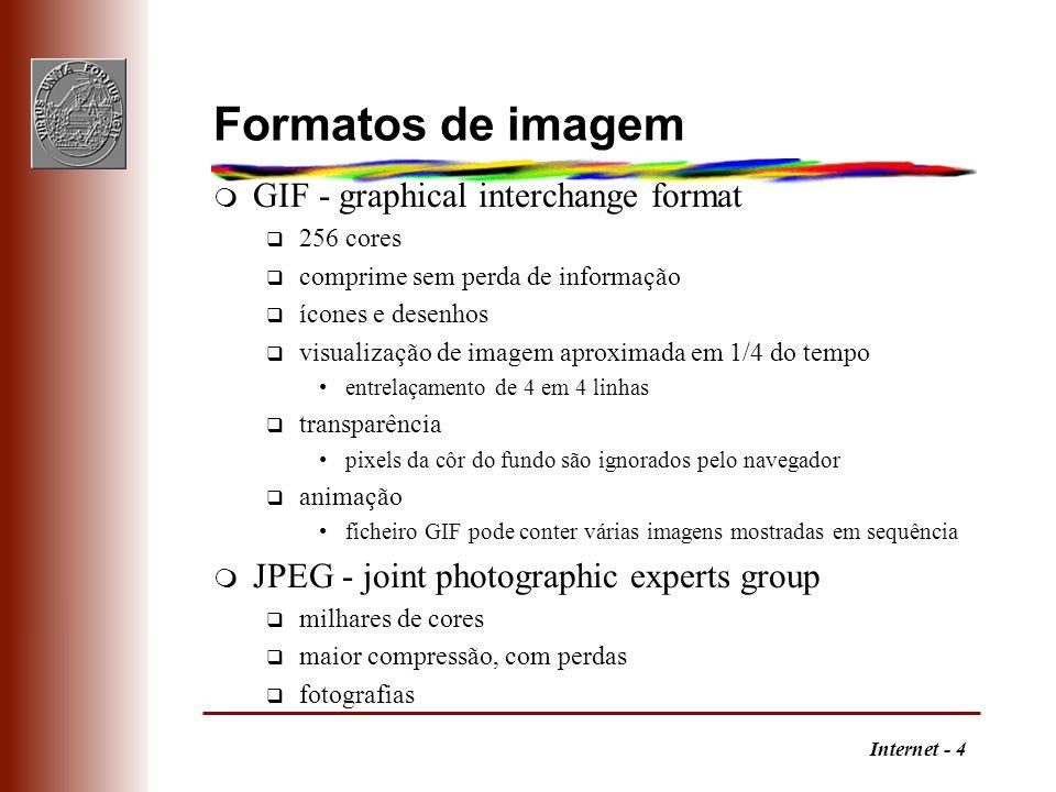 Internet - 4 Formatos de imagem m GIF - graphical interchange format q 256 cores q comprime sem perda de informação q ícones e desenhos q visualização