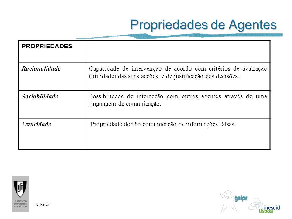 A. Paiva Propriedades de Agentes PROPRIEDADES RacionalidadeCapacidade de intervenção de acordo com critérios de avaliação (utilidade) das suas acções,
