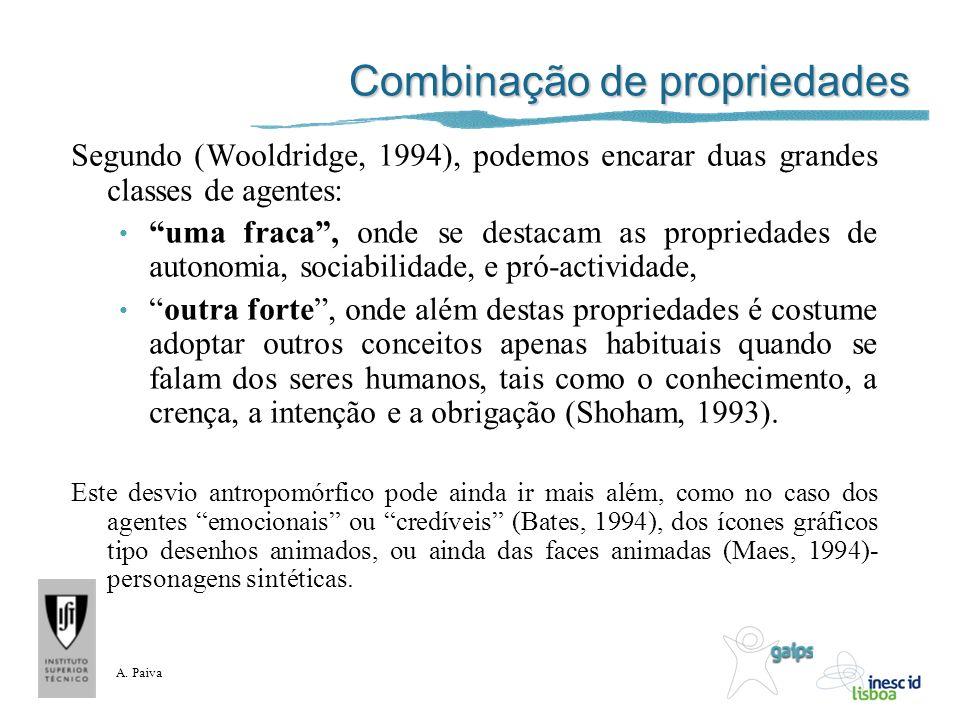 A. Paiva Combinação de propriedades Segundo (Wooldridge, 1994), podemos encarar duas grandes classes de agentes: uma fraca, onde se destacam as propri