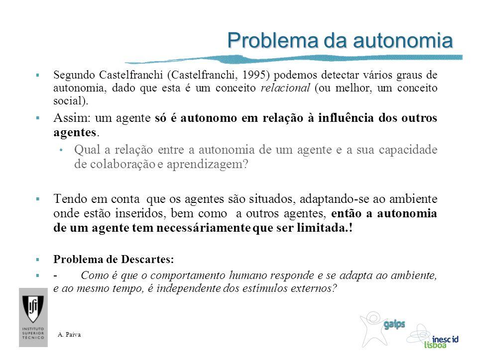 A. Paiva Problema da autonomia Segundo Castelfranchi (Castelfranchi, 1995) podemos detectar vários graus de autonomia, dado que esta é um conceito rel