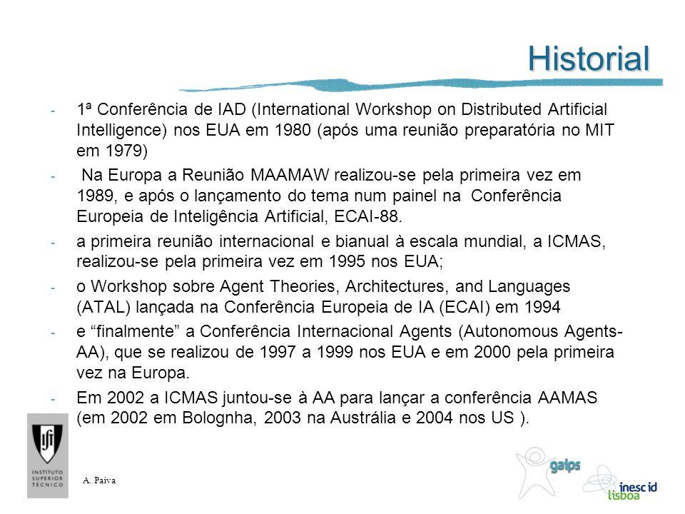 A. Paiva Historial - 1ª Conferência de IAD (International Workshop on Distributed Artificial Intelligence) nos EUA em 1980 (após uma reunião preparató