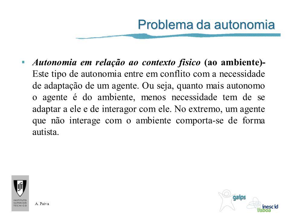 A. Paiva Problema da autonomia Autonomia em relação ao contexto fisico (ao ambiente)- Este tipo de autonomia entre em conflito com a necessidade de ad