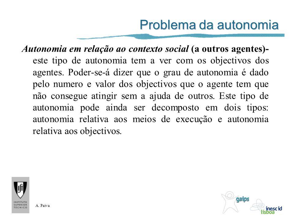 A. Paiva Problema da autonomia Autonomia em relação ao contexto social (a outros agentes)- este tipo de autonomia tem a ver com os objectivos dos agen