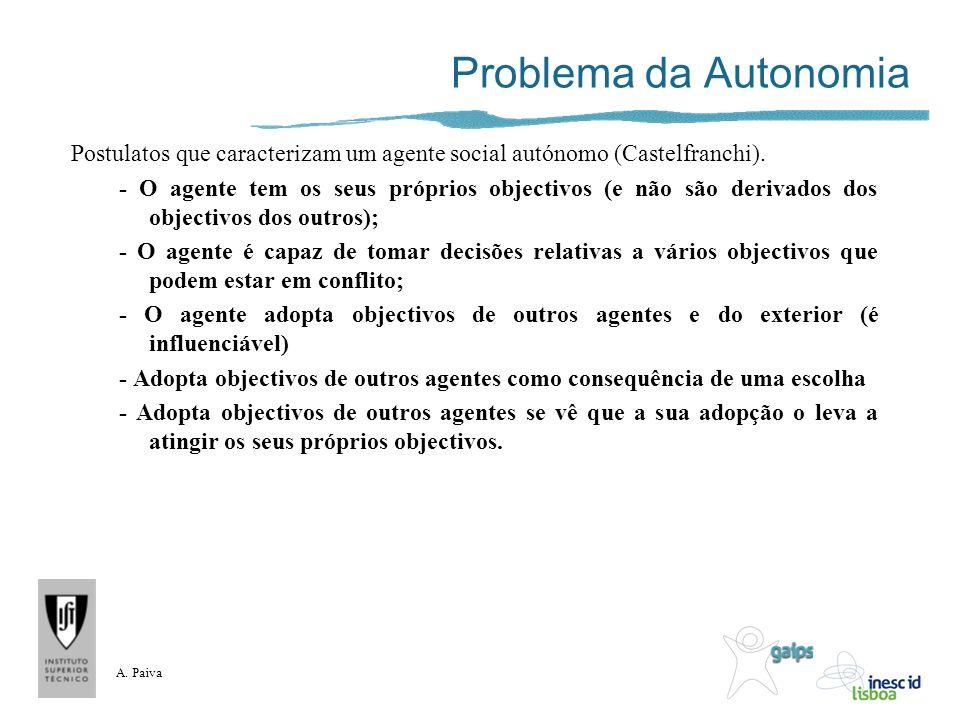 A. Paiva Problema da Autonomia Postulatos que caracterizam um agente social autónomo (Castelfranchi). - O agente tem os seus próprios objectivos (e nã