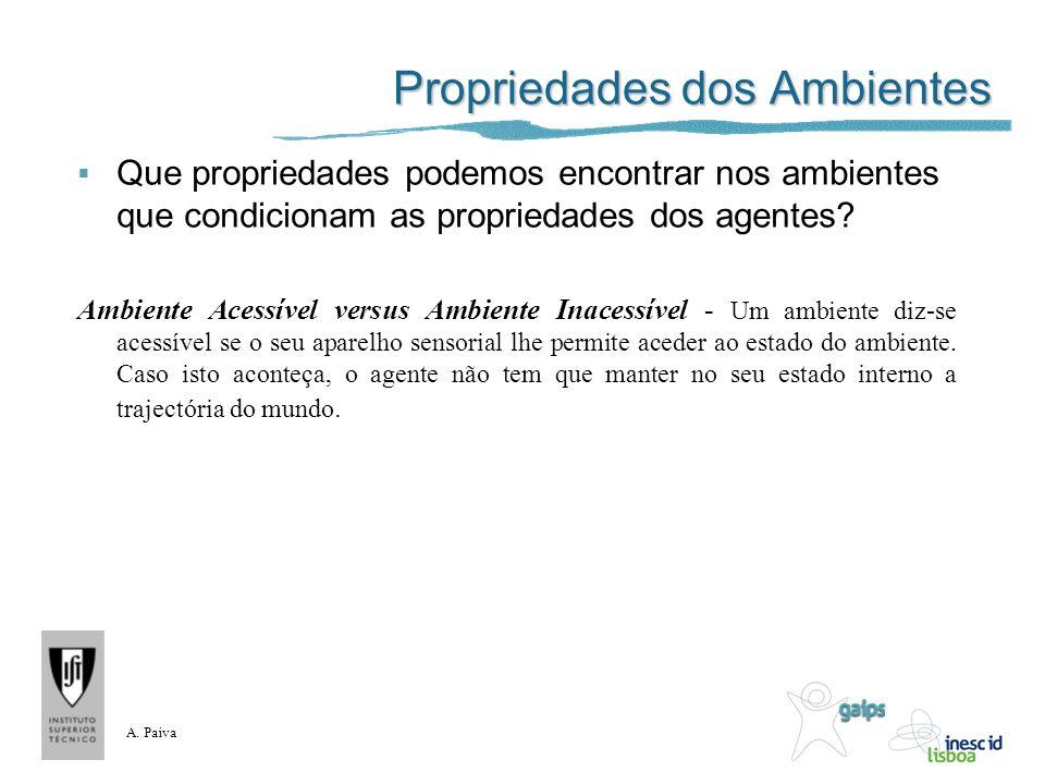 A. Paiva Propriedades dos Ambientes Que propriedades podemos encontrar nos ambientes que condicionam as propriedades dos agentes? Ambiente Acessível v
